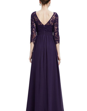 photo Lace Paneled Long Sleeve Floor Length Evening Dress by OASAP - Image 20