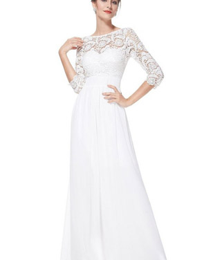 photo Lace Paneled Long Sleeve Floor Length Evening Dress by OASAP - Image 3