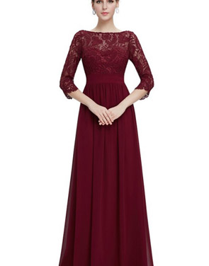 photo Lace Paneled Long Sleeve Floor Length Evening Dress by OASAP - Image 5