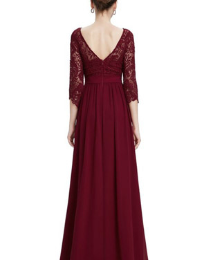 photo Lace Paneled Long Sleeve Floor Length Evening Dress by OASAP - Image 6