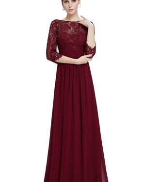 photo Lace Paneled Long Sleeve Floor Length Evening Dress by OASAP - Image 7