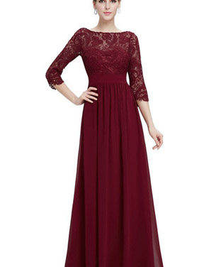 photo Lace Paneled Long Sleeve Floor Length Evening Dress by OASAP - Image 8