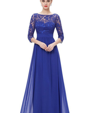 photo Lace Paneled Long Sleeve Floor Length Evening Dress by OASAP - Image 10