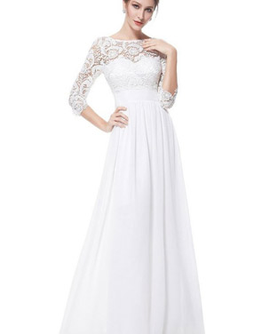 photo Lace Paneled Long Sleeve Floor Length Evening Dress by OASAP - Image 1