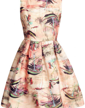 photo Little Boat Print Organza Skater Dress by OASAP, color Multi - Image 1