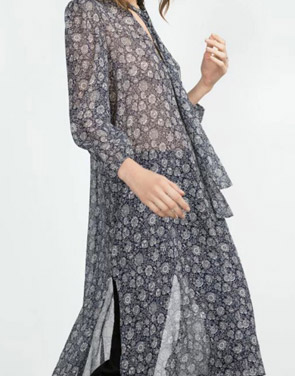 photo Long Sleeve Floral Print Side Slit Shirt Dress by OASAP - Image 2