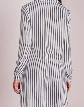 photo Long Sleeve Vertical Stripe Shirt Dress by OASAP, color Black White - Image 2