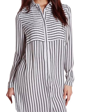 photo Long Sleeve Vertical Stripe Shirt Dress by OASAP, color Black White - Image 1