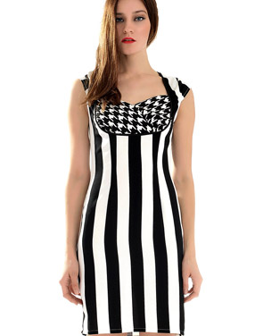 photo Modernist Contrast Vertical Stripe Print Mini Dress by OASAP, color Black White - Image 2