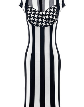 photo Modernist Contrast Vertical Stripe Print Mini Dress by OASAP, color Black White - Image 1
