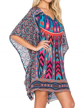 photo National Wind Print Asymmetric Batwing Sleeve Dress by OASAP, color Multi - Image 2