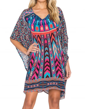 photo National Wind Print Asymmetric Batwing Sleeve Dress by OASAP, color Multi - Image 1