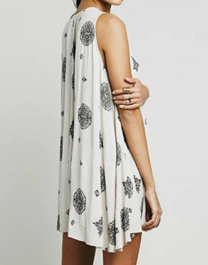 National Wind Print Cut Out Front Sleeveless Trapeze Dress
