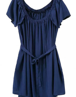 photo Navy Pleated Off-the-Shoulder Dress by OASAP, color Navy - Image 2