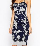 photo Navy Spaghetti Straps Floral Print Midi Dress by OASAP, color Navy - Image 1