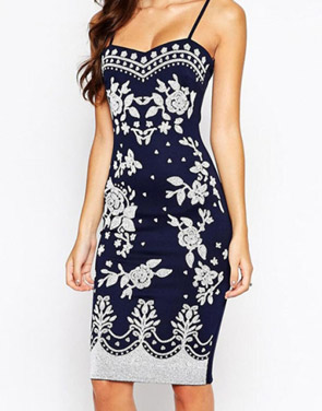 photo Navy Spaghetti Straps Floral Print Midi Dress by OASAP, color Navy - Image 4