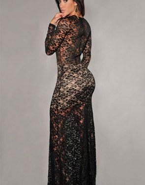 photo Nude Illusion Sexy Lace Evening Dress by OASAP, color Black Nude - Image 2