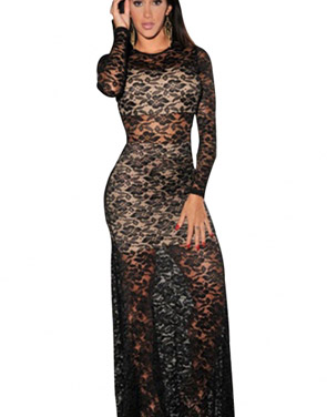 photo Nude Illusion Sexy Lace Evening Dress by OASAP, color Black Nude - Image 1