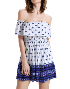 photo Off-Shoulder Ruffle Front Floral Print Short Dress by OASAP, color Multi - Image 1