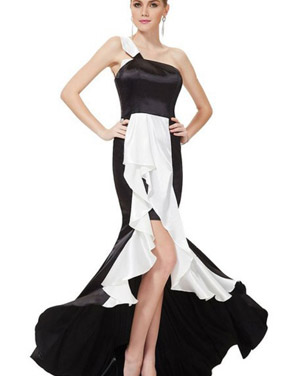photo One Shoulder Black White Fitted Hi-Lo Prom Evening Dress by OASAP, color Black White - Image 1