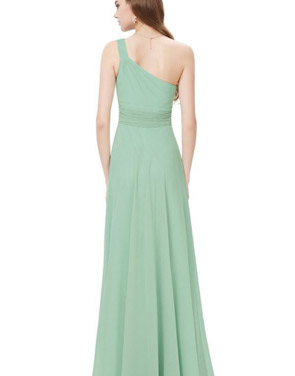 photo One Shoulder Rhinestones Floor Length Evening Party Dress by OASAP - Image 2