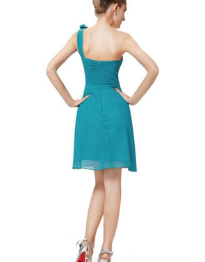 photo One Shoulder Ruched Bust Knee Length Bridesmaids Dress by OASAP - Image 2