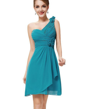 photo One Shoulder Ruched Bust Knee Length Bridesmaids Dress by OASAP - Image 1