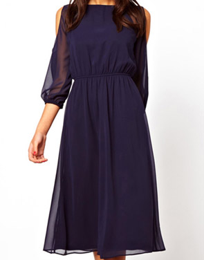 photo Open-Shoulder Round Neck 3/4 Sleeve Chiffon Dress by OASAP - Image 2