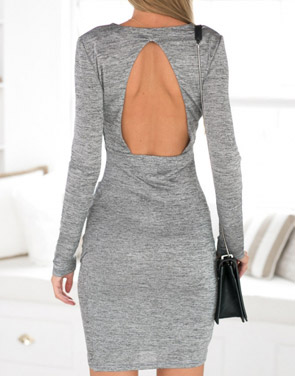 photo Party Deep V-Neck Backless Grey Bodycon Dress by OASAP, color Grey - Image 2