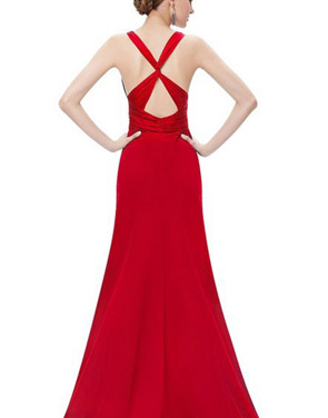 photo Red Superstar Cross Back Long Evening Dress by OASAP, color Red - Image 2