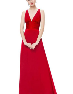 photo Red Superstar Cross Back Long Evening Dress by OASAP, color Red - Image 1