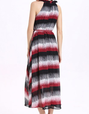 photo Ruffle Neck Sleeveless Color Block Long Dress with Belt by OASAP, color Multi - Image 2