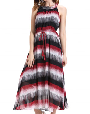 photo Ruffle Neck Sleeveless Color Block Long Dress with Belt by OASAP, color Multi - Image 1