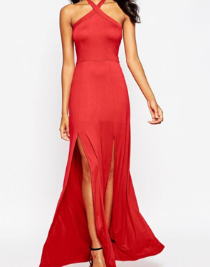 photo Scoop Back Slit Sleeveless Halter Maxi Dress by OASAP - Image 1