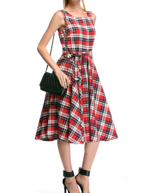 photo Scoop Neck V-Back Tie Waist Plaid Swing Dress by OASAP - Image 2