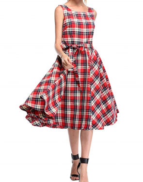 photo Scoop Neck V-Back Tie Waist Plaid Swing Dress by OASAP - Image 1