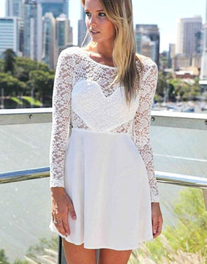 photo Sexy Wedding Party Long Sleeve Lace Skater Dress by OASAP, color White - Image 2