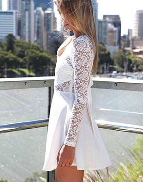 photo Sexy Wedding Party Long Sleeve Lace Skater Dress by OASAP, color White - Image 3