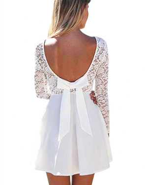 photo Sexy Wedding Party Long Sleeve Lace Skater Dress by OASAP, color White - Image 1