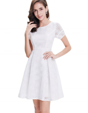photo Short Sleeve Cocktail Party Fit Flare Dress by OASAP, color White - Image 2