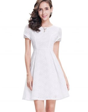photo Short Sleeve Cocktail Party Fit Flare Dress by OASAP, color White - Image 1