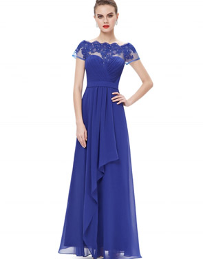 photo Short Sleeve Floral Lace Maxi Prom Evening Dress by OASAP - Image 4