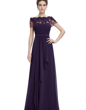 photo Short Sleeve Floral Lace Maxi Prom Evening Dress by OASAP - Image 8