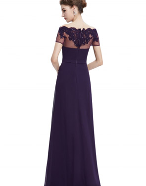 photo Short Sleeve Floral Lace Maxi Prom Evening Dress by OASAP - Image 9