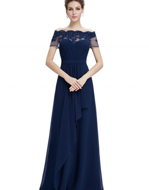 photo Short Sleeve Floral Lace Maxi Prom Evening Dress by OASAP - Image 10