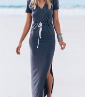photo Side Slit Lace-up Waist Short Sleeve Wrap Dress by OASAP, color Grey - Image 1