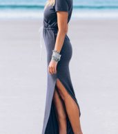 photo Side Slit Lace-up Waist Short Sleeve Wrap Dress by OASAP, color Grey - Image 3