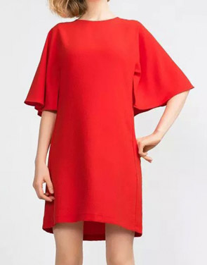 photo Simple Batwing Sleeve Keyhole Back Shift Dress by OASAP - Image 1