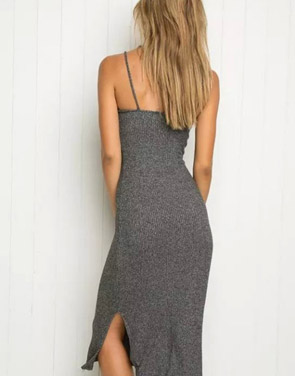 photo Simple Side Slit Spaghetti Strap Backless Ribbed Knit Dress by OASAP - Image 2