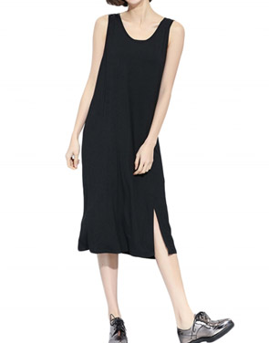 photo Simple Solid Color Sleeveless Slit Loose Fit Dress by OASAP, color Black - Image 1